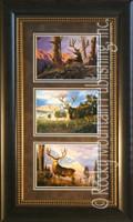 Mule Deer, Tom Mansanarez Wildlife Art Framed Set 10x20