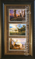 Mule Deer, Tom Mansanarez Wildlife Art Framed Set 10x20