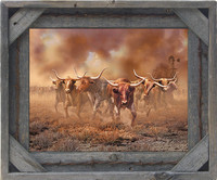 Barb Wire with Cornerblock Barnwood Frame - 8x20
