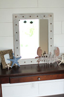 Rustic Mirror - Bunkhouse Style Reclaimed Wood with Whitewash Finish and Tacks