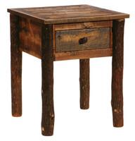 Barnwood One Drawer Nightstand - Hickory Leg