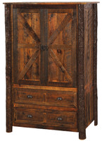 2 Drawer Reclaimed Wood Wardrobe with Hanging Rod