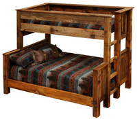 Twin over Full - Twin over Queen Rustic Bunk Beds - Barnwood