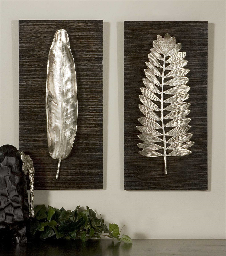 Rustic Wall Art Uttermost Silver Leaf Plaques
