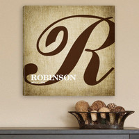 Personalized Surname Monogram Wrapped Canvas Print