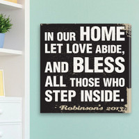 """Personalized """"In Our Home Let Love Abide"""" Canvas Prayer Print"""