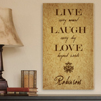 Custom Live, Laugh, Love Personalizable Canvas Print