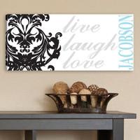 Live Laugh Love Wall Art Canvas - Black, Grey, Blue