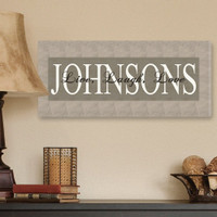 """Wrapped Canvas """"Live Laugh Love"""" Personalized Family Name Print - Grey"""
