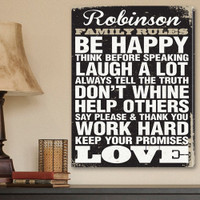 """Personalized """"Family Rules"""" Wrapped Canvas Sign"""