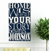Home is Where Your Story Begins Personalized Canvas Print - Navy Blue