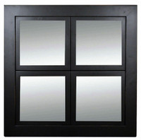 Windowpane Mirror, Black with Lightly Distressed Edges, Poplar Wood - 8x8 Panes