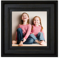 Square Black Picture Frame, 8x8, Solid Poplar Wood with Glass and Hanging Hardware