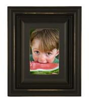 4x6 Scoop Molding Black Wood Picture Frame, Distressed