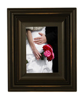 5x7 Scoop Molding Black Wood Picture Frame, Distressed