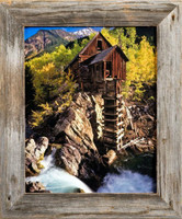 8x10 Barnwood Picture Frame, Homestead Narrow 1.5 Inch Flat Rustic Reclaimed Wood Frame
