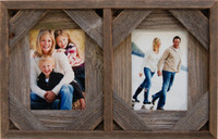 Collage Frame with Two 4x6 openings, Barnwood with Cornerblocks