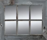 Rustic Mirror  - Window Pane Barnwood Mirror - 6 Panes