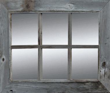 Rustic window pane mirror rustic barnwood mirror country 6 pane image 1 teraionfo