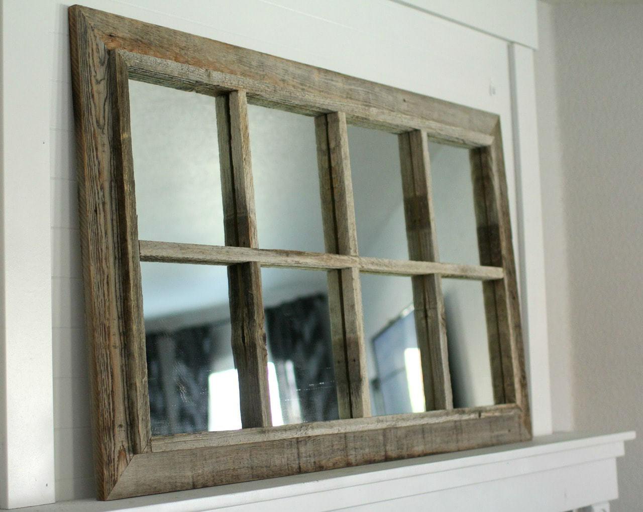 Rustic Mirror Window Pane Barnwood Mirror 8 Panes Ebay