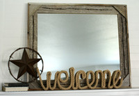 Rustic Mirror - Cornerblock Barnwood with Barbed Wire