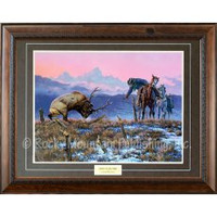 Down to the Wire by Clark Kelley Price. Features a mounted cowboy working to free an elk from a barbed wire fence. Grand Teton mountains and a pink sunrise in the background.