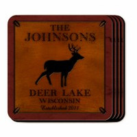 Personalized Deer Coaster Set