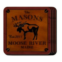 Personalized Moose Coaster Set