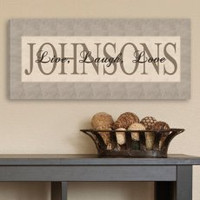 """Wrapped Canvas """"Live Laugh Love"""" Personalized Family Name Print - Taupe"""