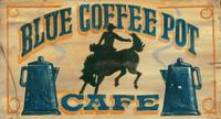 Vintage Blue Coffee Pot Cafe Sign