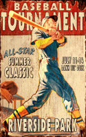 Vintage Baseball Tournament Sign