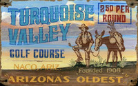 Vintage Turquoise Valley Golf Sign