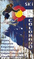Vintage Ski Flag Colorado Sign