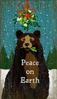 Vintage Christmas Mistletoe Bear Sign