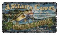 Vintage Angler's Cove Fishing Lodge Sign