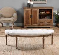 Uttermost Leggett Tufted White Bench