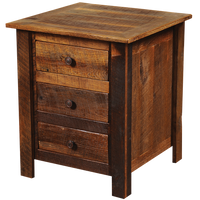 Barnwood Three Drawer Nightstand - Barnwood Legs