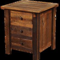 Barnwood Three Drawer Nightstand - Barnwood Legs