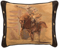 Bronco Rider Leather Pillow