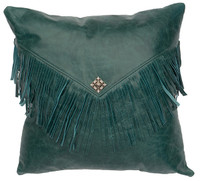 Peacock Leather Pillow with fringe