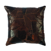 Patchwork Leather Pillow Fabric Back