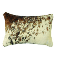 Dark Brown and White Speckled Hide Pillow
