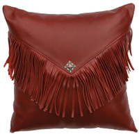 Dark Red Leather Pillow with flap and fringe