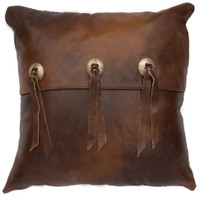 Harness Leather Pillow with flap and ties