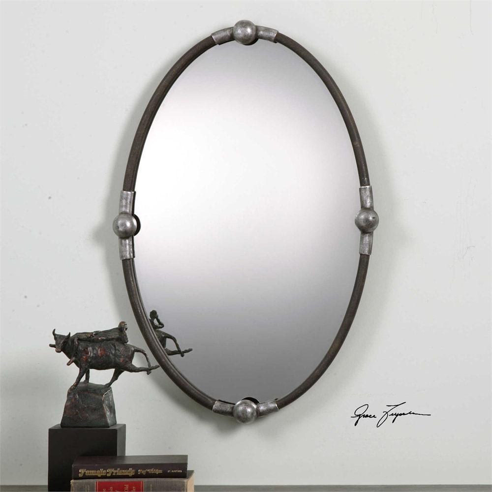Uttermost Carrick Black Oval Mirror - MyBarnwoodFrames.com
