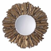 Lightly brushed gold leaf with antiqued edges.