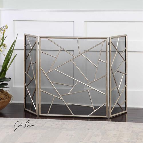 uttermost armino modern fireplace screen. Black Bedroom Furniture Sets. Home Design Ideas