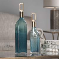 Uttermost Annabella Teal Glass Bottles, S/2