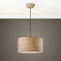 Uttermost Dafina 3 Light Burlap Drum Pendant