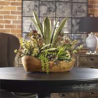 Uttermost Salar Succulents In Teak Bowl